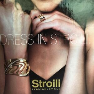 Stroili italian fashion jewelry White Metal Cryst cuff bracelet 7