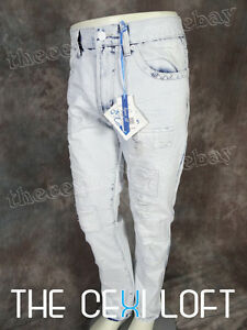 NEW Mens ICE BLUE DESIGNER Jeans Taper Fit Legs Destroyed Fronts Faded