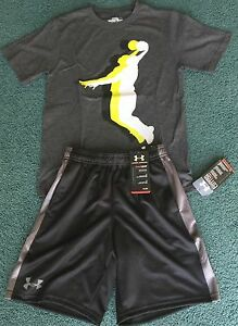 NWT Boys Under Armour S GrayBlackWhite BASKETBALL Dunk Ultimate Shorts Set YSM