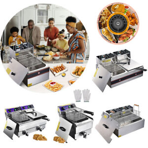 Commercial Electric Deep Fryer French Fry Bar Restaurant Tank w/ Basket Size Opt