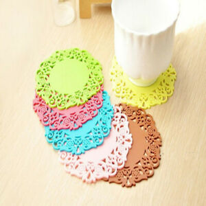 6PCS PVC Heat Insulation Coffee Cup Mat 6 X Hot Tea Silicone Coaster Pad