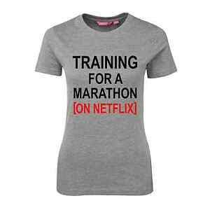 TRAINING FOR A MARATHON ON NETFLIX T-SHIRT MARLE BACK FITNESS TV SHOW FUNNY GIFT