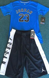 NWT Nike Jordan Boys YLG BlackLight BlueWhite Dri-Fit Shorts Set Large