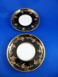 2 aynsley bone china demitasse saucers black gold