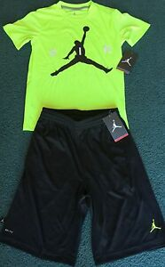 NWT Nike Jordan Boys YLG Neon Yellow GreenBlack Dri-Fit Shorts Set Large