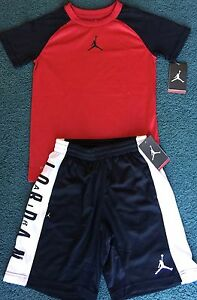 NWT Nike Air Jordan Youth Boys M RedBlackWhite Dri-Fit Shorts Set Medium