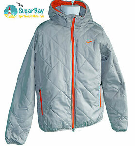 NIKE Storm Fit Stay Dry Warm Mens Thermore Quilted Jackets Light Grey Orange M