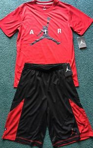 NWT Nike Jordan Boys YXL RedBlackWhite Dri-Fit AIR Shorts Set XL