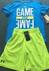 NWT Boys Under Armour L Neon YellowLt BlueWhite GAME OVER FAME Shorts Set YLG
