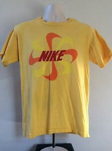 Vtg Early 80s Nike Pinwheel Logo T-Shirt Yellow L Swoosh Orange Tag