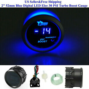 US 2 52mm Blue Digital LED Elec 30 PSI Turbo Boost Gauge Boat Car AUTO 0 15V