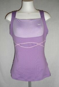 Nike Fit Dry Womens M Two Tone Lavender Tennis Vented Tank Shirt Built In Bra