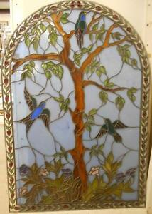 OLD ENGLISH LEADED STAINED GLASS WINDOW The Tree Of Life 47.75
