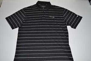 NIKE GOLF MIRAGE HOTEL CASINO BLACK WHITE STRIPED DRY FIT POLO SHIRT MENS LARGE