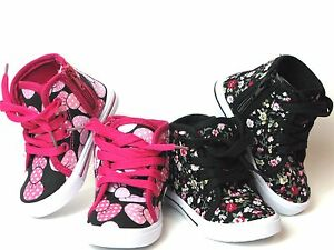 New Baby Toddler Girls Canvas High Top Lace Up Shoes Inside Zipper Sz 4 9