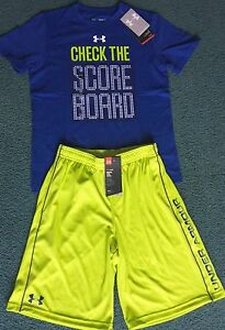 NWT Under Armour L Boys Dk BlueGreenWhite CHECK THE SCORE BOARD Shorts Set YLG