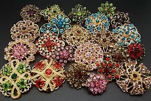 Lot 24 pc Mixed Vintage Style Golden Rhinestone Crystal Brooch Pin DIY Bouquet $13.88