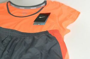 NIKE Running Racer Mesh Dri Fit SS Shirt 10K Shorts 2pc Set Orange Gray