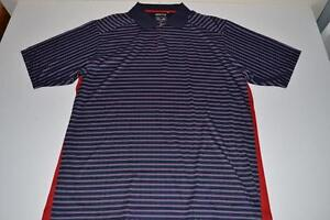 ADIDAS GOLF NAVY BLUE RED STRIPED DRY FIT POLO SHIRT MENS SIZE XL