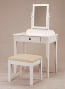 Beautiful Wooden Vanity Makeup Table Set in White Finish