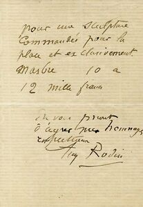AUGUSTE RODIN - AUTOGRAPH NOTE SIGNED