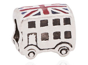 SILVER LONDON BUS DOUBLE DECKER CHARM BEAD UNION JACK pd Bracelet beads charms