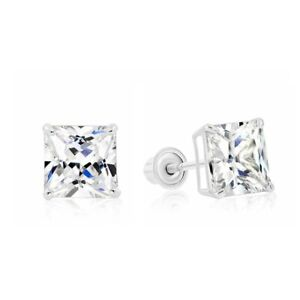 4.0CT Princess Cut Created Diamond Square Stud Screwback Earrings 14K White Gold