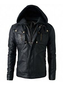 New Men's Motorcycle Brando Style Biker Leather Hoodie Jacket - Detach Hood
