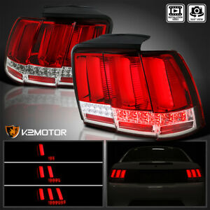 Red Fit 1999 2004 Ford Mustang LED Tail Lights Sequential LED Signal Brake Lamps $175.38