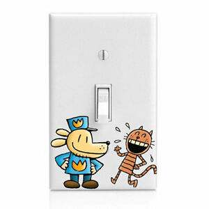 Dog Man, Flat Petey, Kids Light Switch Cover, Kitchen Decor, Bedroom Decor, Bath