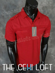 Mens VERTICAL Modern Contemporary Polo Sport T-Shirt Red w Mesh Shoulders