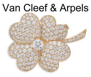 Van Cleef and Arpels Very Large Diamond Cosmos Clip Pendant Yellow Gold
