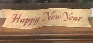 Primitive Happy New Year 4quot; Wired Burlap Ribbon Banner Ornament LRG NEW Barn Red