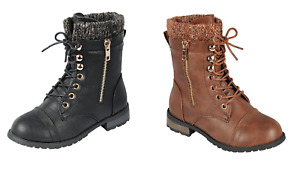Baby Toddler And Youth Girls Leather P U Combat Boots Lace Up Fall Winter Shoes $24.95