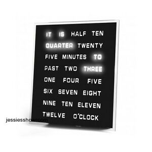 Word Clock Home Office Wall Mount Desktop LED Time Text Built-in Stand New