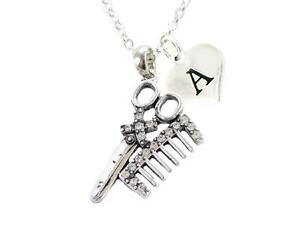 Custom Crystal Hair Stylist Scissors Comb Silver Necklace Jewelry Choose Initial