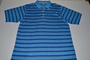 ADIDAS GOLF SAWGRASS TPC BLUE STRIPED DRY FIT POLO SHIRT MENS SIZE LARGE L