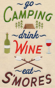 CAMPING DRINK WINE SMORES SET OF 2 BATH HAND TOWELS EMBROIDERED BY LAURA