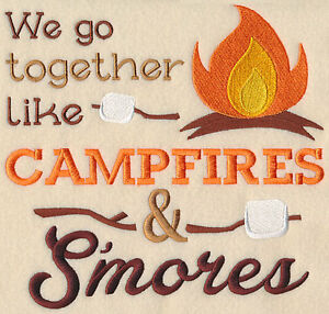 WE GO TOGETHER LIKE CAMFIRE SMORES SET OF 2 BATH HAND TOWEL EMBROIDER BY LAURA