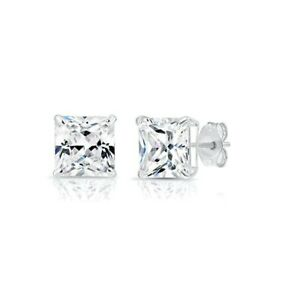 2.00 Carat Princess Cut Created Diamond Square Stud Earrings Real 14K White Gold