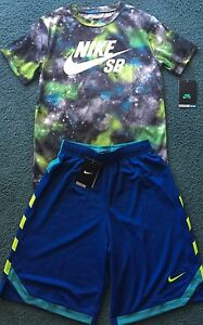 NWT Nike Boys Youth M GrayBlueGreenAqua Dri-Fit Shorts Set Medium