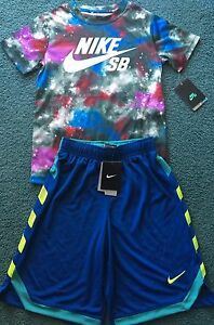 NWT Nike Boys Youth S BlueGrayPurpleRedAqua Dri-Fit Shorts Set Small