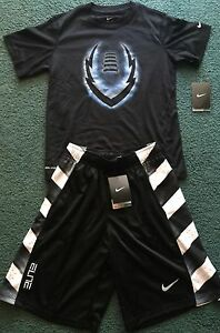 NWT Nike Elite Boys YSM BlackWhiteLight Blue FOOTBALL Dri-Fit Shorts Set Small