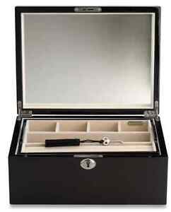 Espresso Walnut Jewelry Lock Box Storage Display Chest Case Necklace Organizer