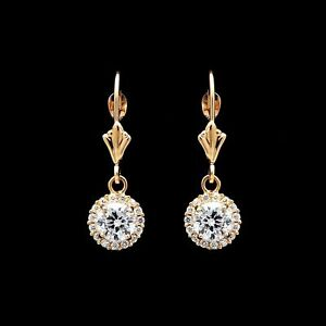 1.25Ct Created Diamond Halo Earrings 14k Yellow Gold Round  Drop Dangle Hoops