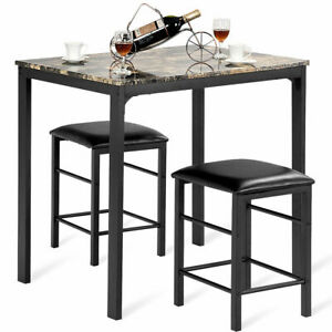 3 PCS Counter Height Dining Set Faux Marble Table 2 Chairs Kitchen Bar Furniture $99.99