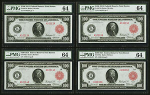 FR. 1072a 1914 $100 RED SEAL FRN FEDERAL RESERVE NOTES CUT SHEET OF 4 PMG UNC-64
