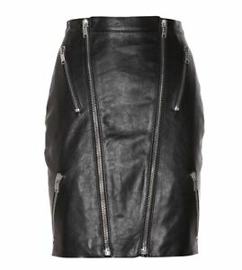Saint Laurent Leather Zipped Skirt SZ 40 = US 4 - Worn Once - RT $2890.00 + Tx