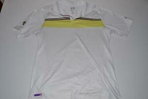 ADIDAS GOLF WHITE YELLOW DRY FIT POLO SHIRT MENS SIZE MEDIUM M