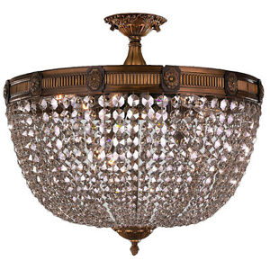 US BRAND Winchester 9 Light Antique Bronze Crystal Semi Flush Ceiling 24